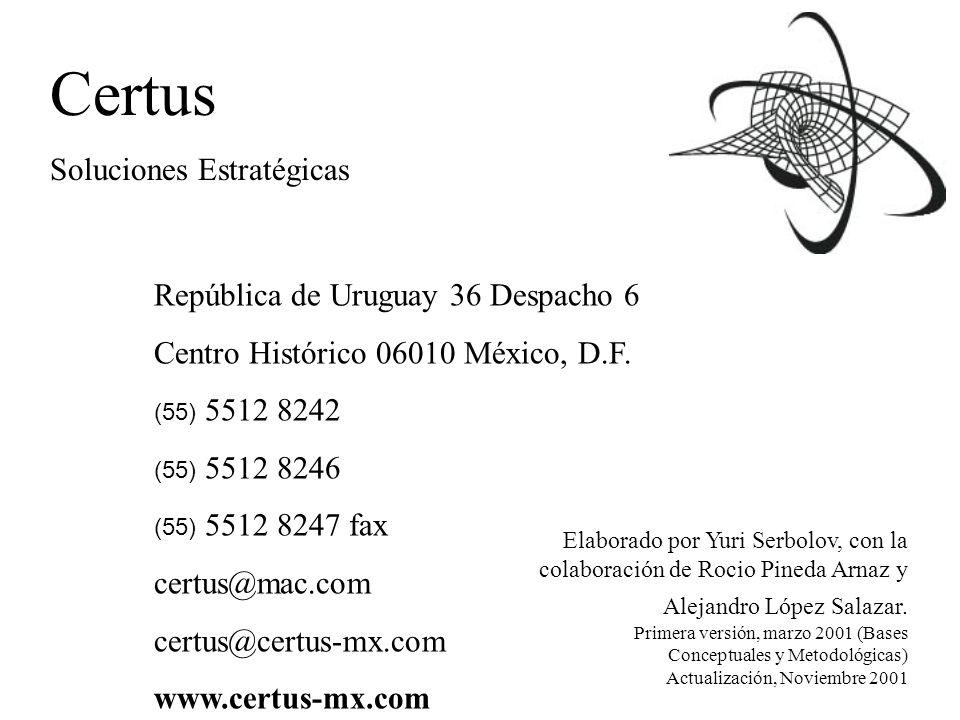 Certus Soluciones Estratégicas República de Uruguay 36 Despacho 6 Centro Histórico 06010 México, D.F.