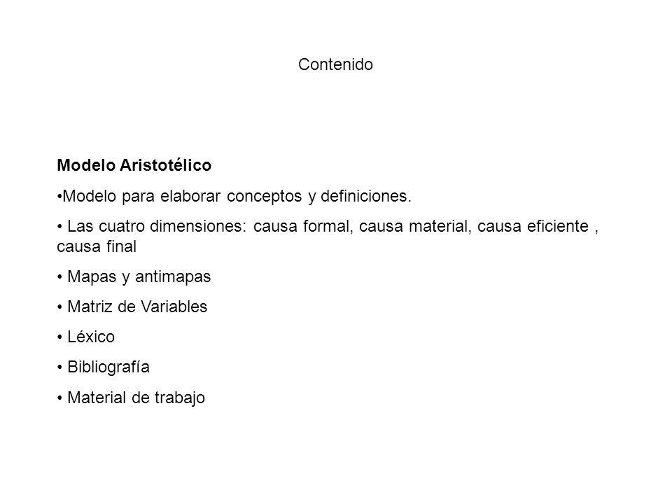 Contenido Modelo Aristotélico Modelo para elaborar conceptos y definiciones.
