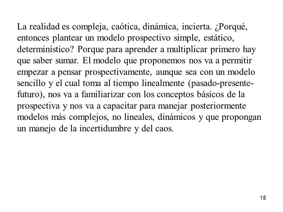 18 La realidad es compleja, caótica, dinámica, incierta. ¿Porqué, entonces plantear un modelo prospectivo simple, estático, determinístico? Porque par