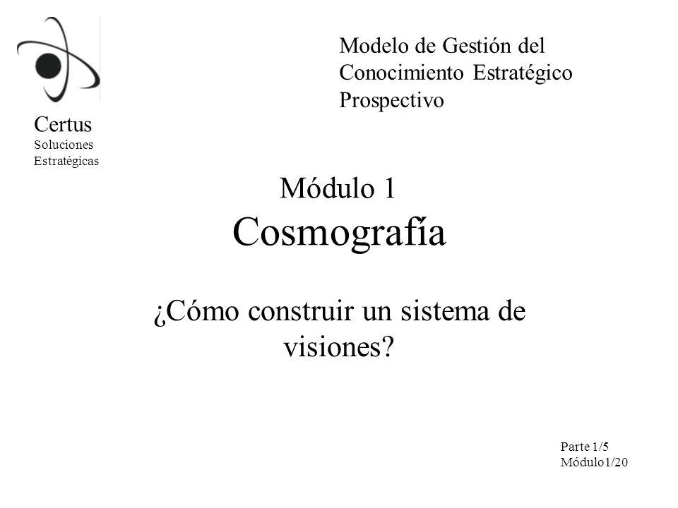 Módulo 1 Cosmografía ¿Cómo construir un sistema de visiones? Certus Soluciones Estratégicas Modelo de Gestión del Conocimiento Estratégico Prospectivo