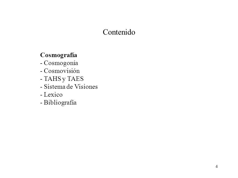 4 Contenido Cosmografía - Cosmogonía - Cosmovisión - TAHS y TAES - Sistema de Visiones - Lexico - Bibliografía