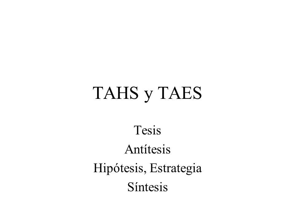 TAHS y TAES Tesis Antítesis Hipótesis, Estrategia Síntesis