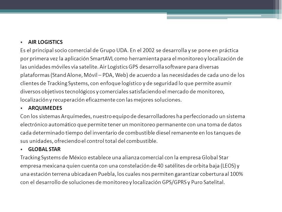 AIR LOGISTICS Es el principal socio comercial de Grupo UDA. En el 2002 se desarrolla y se pone en práctica por primera vez la aplicación SmartAVL como