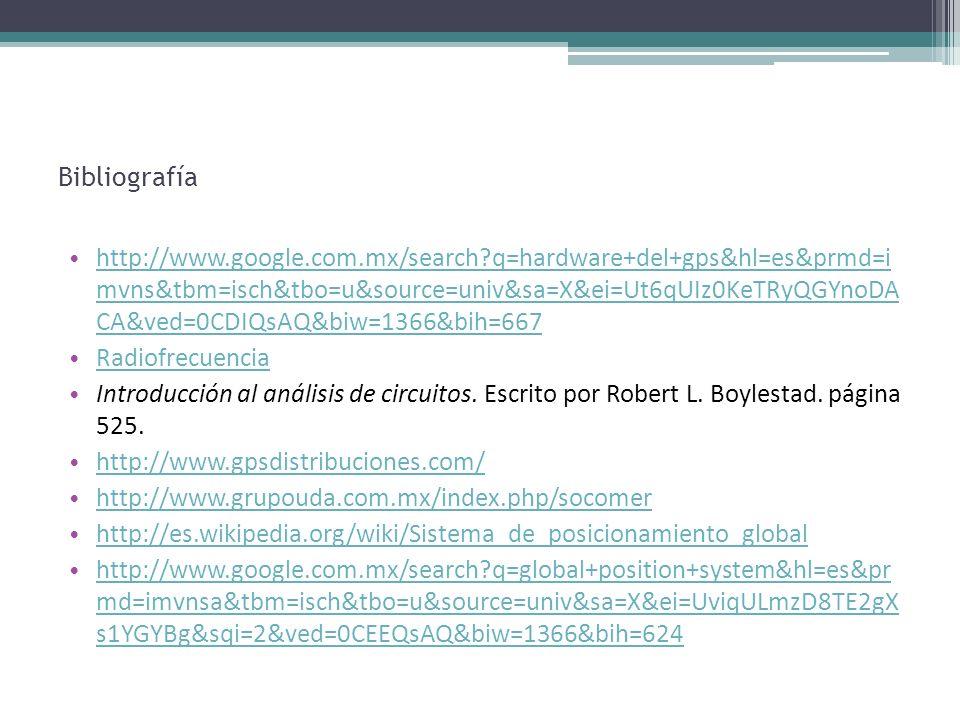 Bibliografía http://www.google.com.mx/search?q=hardware+del+gps&hl=es&prmd=i mvns&tbm=isch&tbo=u&source=univ&sa=X&ei=Ut6qUIz0KeTRyQGYnoDA CA&ved=0CDIQ