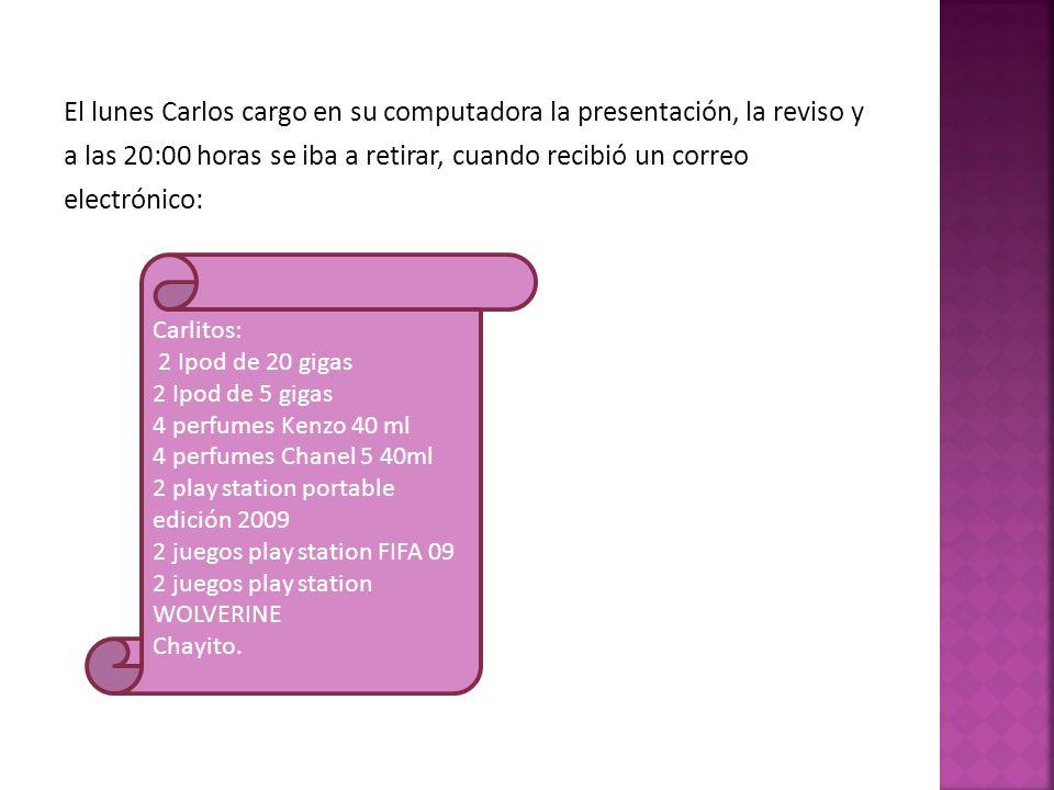 El lunes Carlos cargo en su computadora la presentación, la reviso y a las 20:00 horas se iba a retirar, cuando recibió un correo electrónico: Carlito