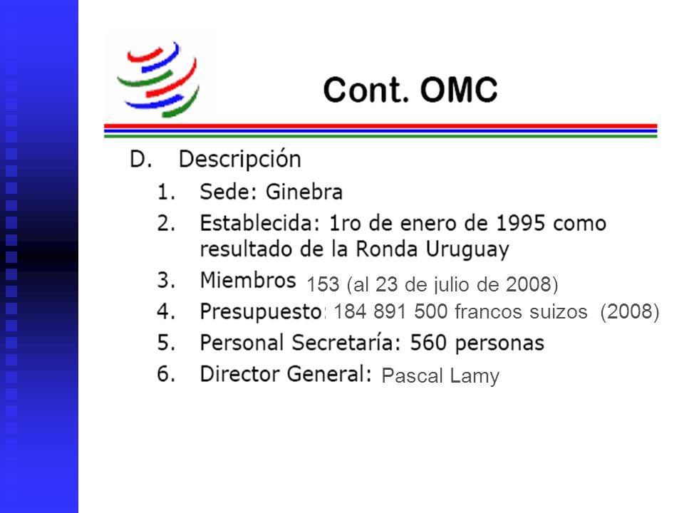 153 (al 23 de julio de 2008) 184 891 500 francos suizos (2008) Pascal Lamy