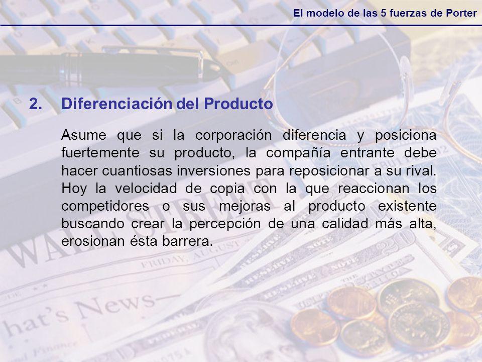El modelo de las 5 fuerzas de Porter 2.Diferenciación del Producto Asume que si la corporación diferencia y posiciona fuertemente su producto, la comp