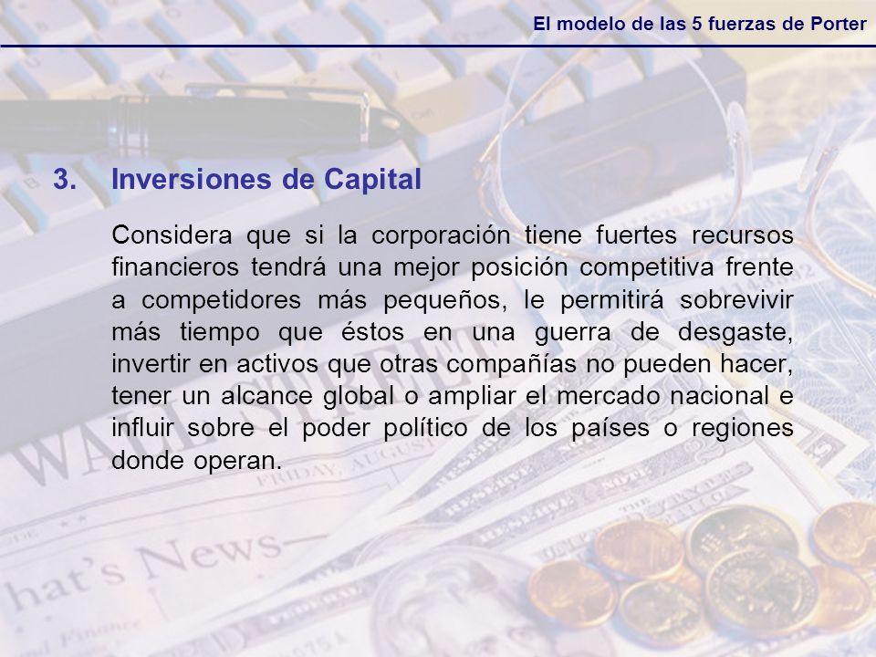 El modelo de las 5 fuerzas de Porter 3.Inversiones de Capital Considera que si la corporación tiene fuertes recursos financieros tendrá una mejor posi