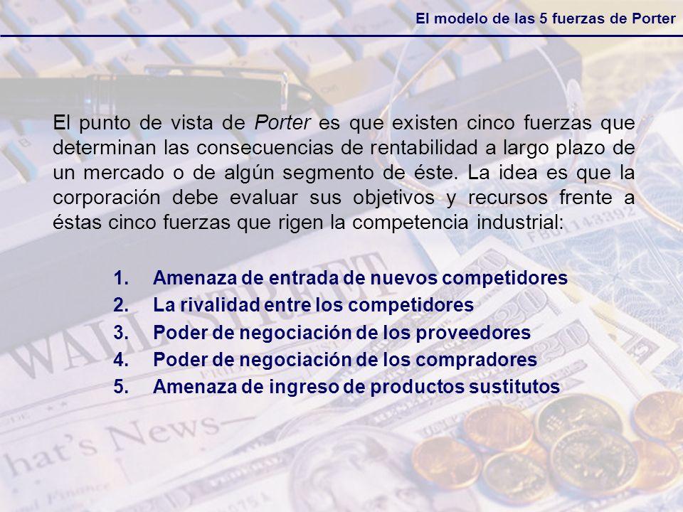 El modelo de las 5 fuerzas de Porter El punto de vista de Porter es que existen cinco fuerzas que determinan las consecuencias de rentabilidad a largo