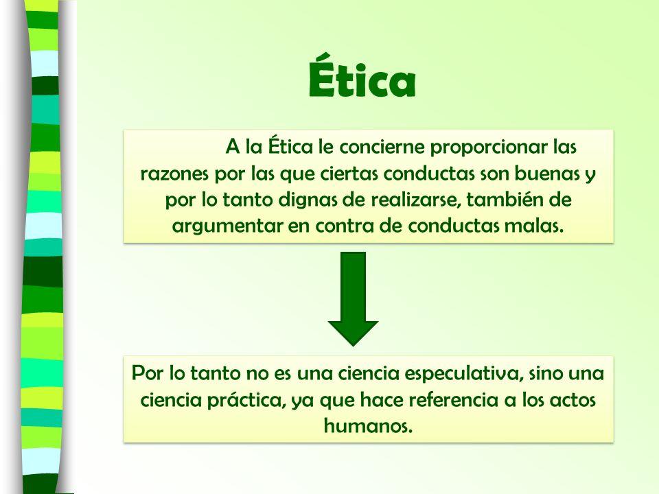 Ética A la Ética le concierne proporcionar las razones por las que ciertas conductas son buenas y por lo tanto dignas de realizarse, también de argume