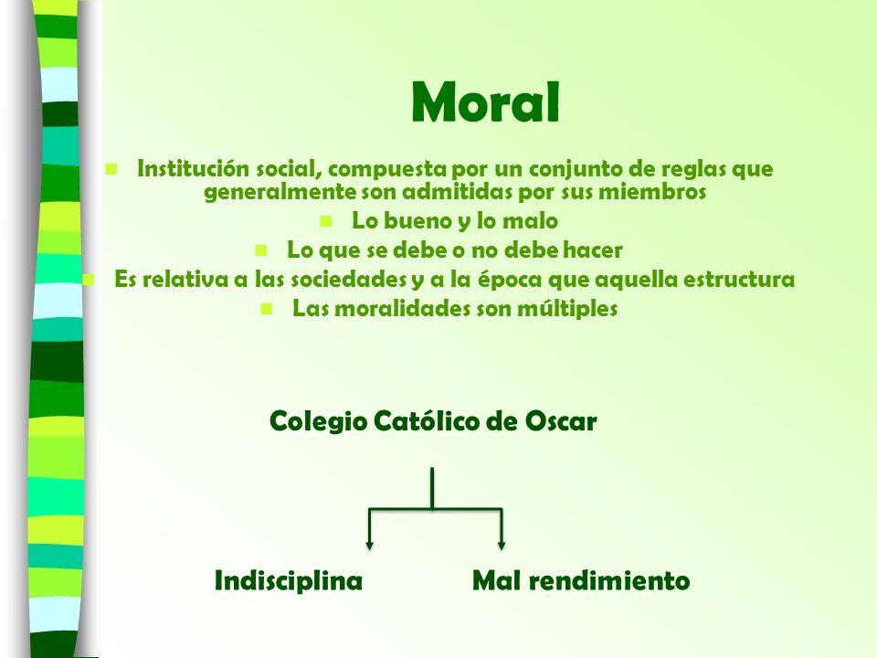 Moral Institución social, compuesta por un conjunto de reglas que generalmente son admitidas por sus miembros Lo bueno y lo malo Lo que se debe o no d