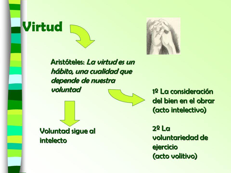 Virtud 1º La consideración del bien en el obrar (acto intelectivo) 2º La voluntariedad de ejercicio (acto volitivo) Aristóteles: La virtud es un hábit