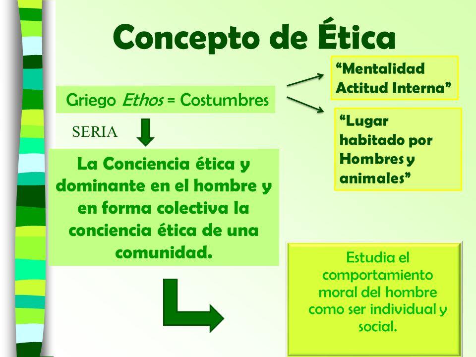 Concepto de Ética La Conciencia ética y dominante en el hombre y en forma colectiva la conciencia ética de una comunidad. Estudia el comportamiento mo