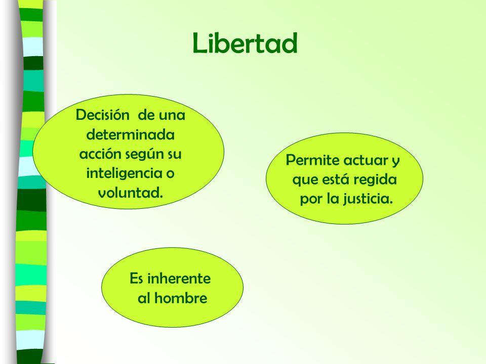 Decisión de una determinada acción según su inteligencia o voluntad. Permite actuar y que está regida por la justicia. Libertad Es inherente al hombre