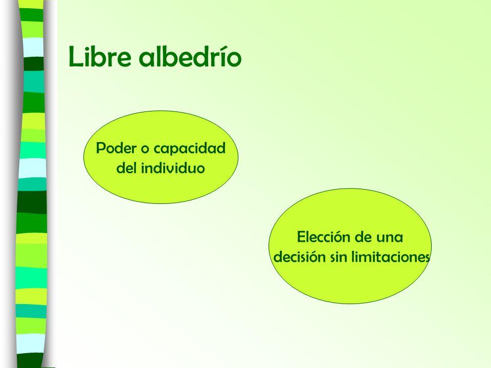 Libre albedrío Poder o capacidad del individuo Elección de una decisión sin limitaciones
