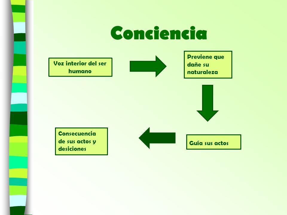 Conciencia Voz interior del ser humano Guía sus actos Consecuencia de sus actos y desiciones Previene que dañe su naturaleza