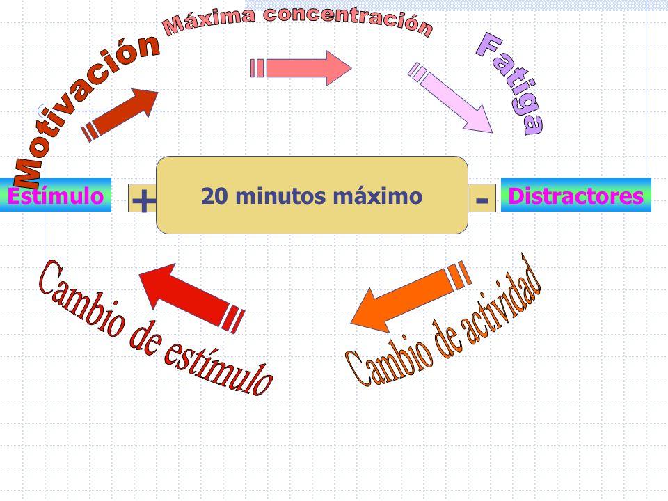 EstímuloDistractores +- 20 minutos máximo