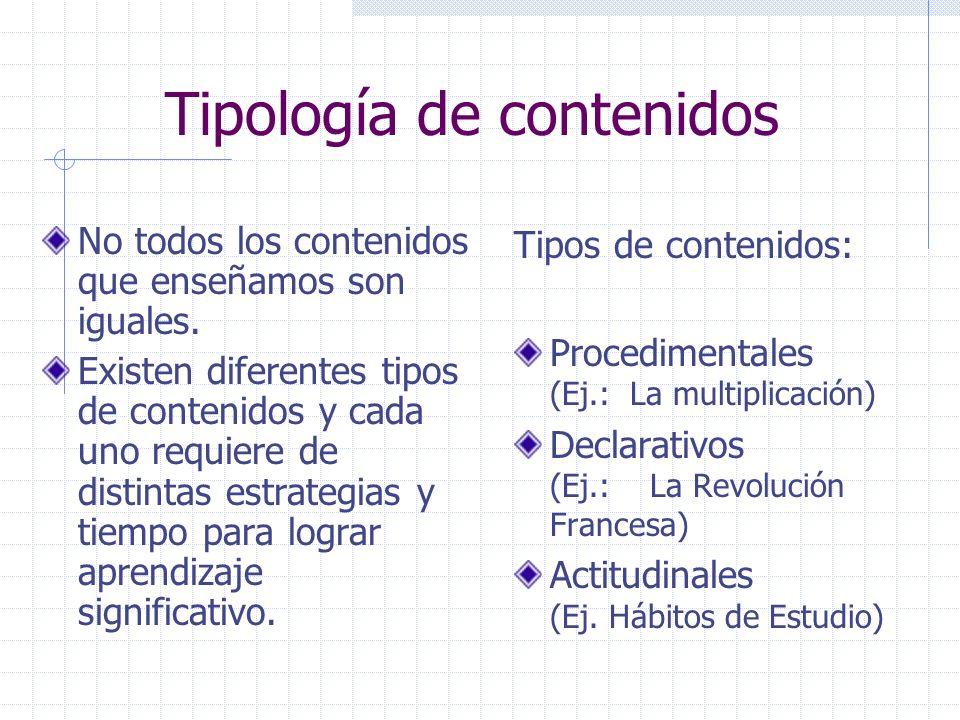 Tipología de contenidos No todos los contenidos que enseñamos son iguales. Existen diferentes tipos de contenidos y cada uno requiere de distintas est
