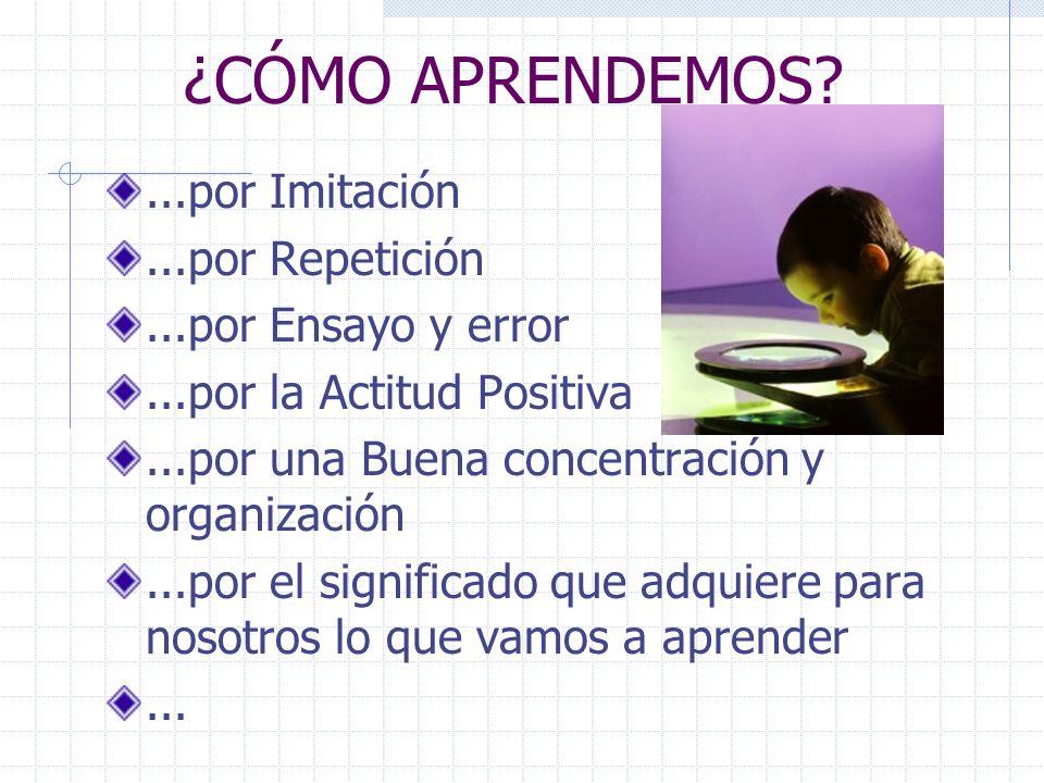 ¿CÓMO APRENDEMOS?...por Imitación...por Repetición...por Ensayo y error...por la Actitud Positiva...por una Buena concentración y organización...por el significado que adquiere para nosotros lo que vamos a aprender...