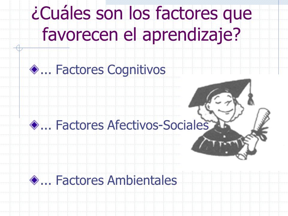 ¿Cuáles son los factores que favorecen el aprendizaje?... Factores Cognitivos... Factores Afectivos-Sociales... Factores Ambientales