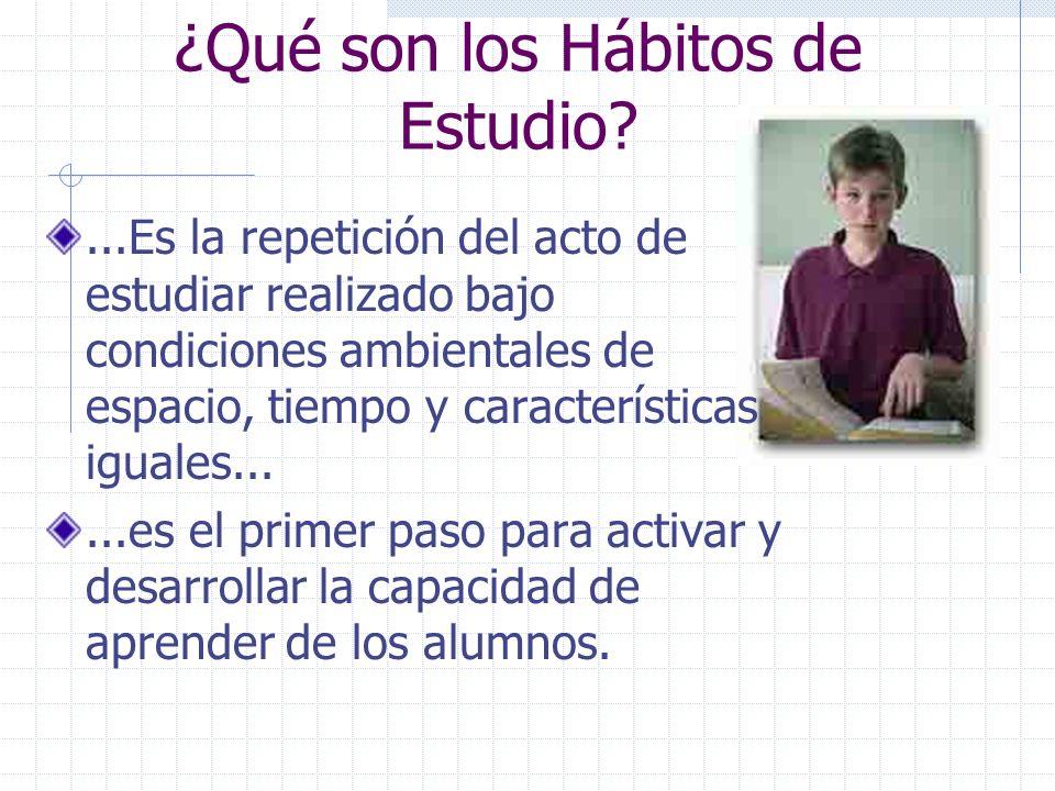 ¿Qué son los Hábitos de Estudio?...Es la repetición del acto de estudiar realizado bajo condiciones ambientales de espacio, tiempo y características iguales......es el primer paso para activar y desarrollar la capacidad de aprender de los alumnos.