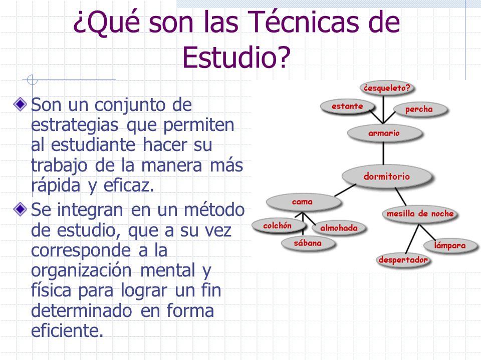 ¿Qué son las Técnicas de Estudio? Son un conjunto de estrategias que permiten al estudiante hacer su trabajo de la manera más rápida y eficaz. Se inte