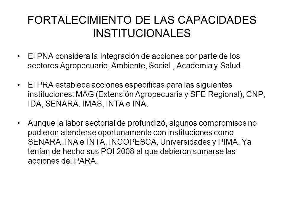 FORTALECIMIENTO DE LAS CAPACIDADES INSTITUCIONALES El PNA considera la integración de acciones por parte de los sectores Agropecuario, Ambiente, Socia