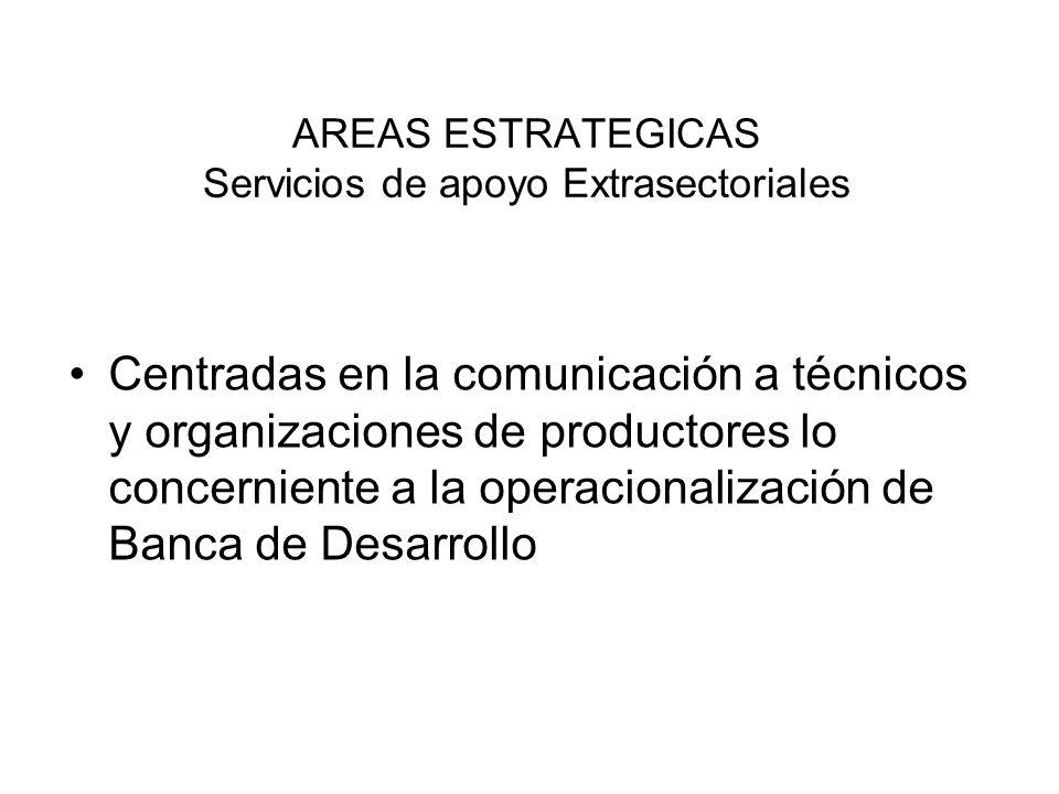 AREAS ESTRATEGICAS Servicios de apoyo Extrasectoriales Centradas en la comunicación a técnicos y organizaciones de productores lo concerniente a la op