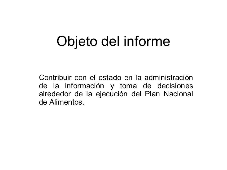 Objeto del informe Contribuir con el estado en la administración de la información y toma de decisiones alrededor de la ejecución del Plan Nacional de