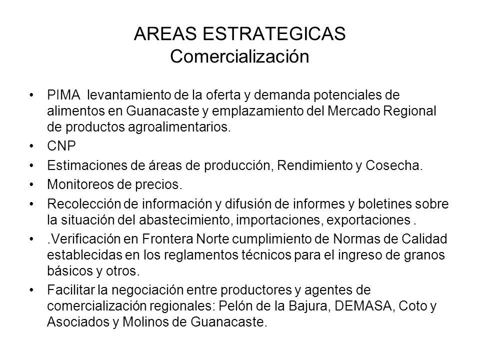 AREAS ESTRATEGICAS Comercialización PIMA levantamiento de la oferta y demanda potenciales de alimentos en Guanacaste y emplazamiento del Mercado Regio