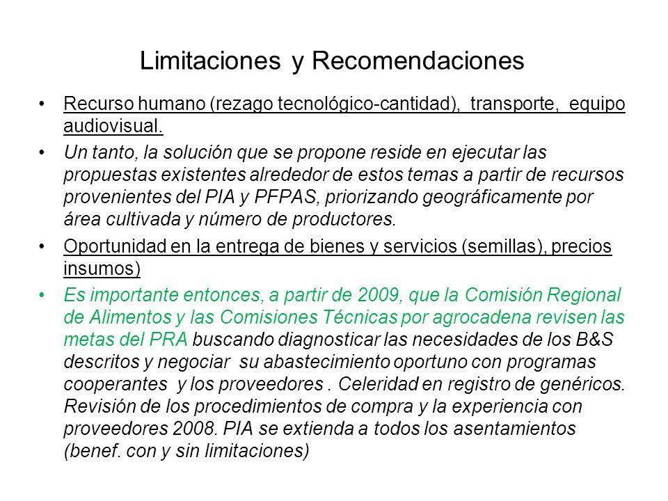 Limitaciones y Recomendaciones Recurso humano (rezago tecnológico-cantidad), transporte, equipo audiovisual. Un tanto, la solución que se propone resi