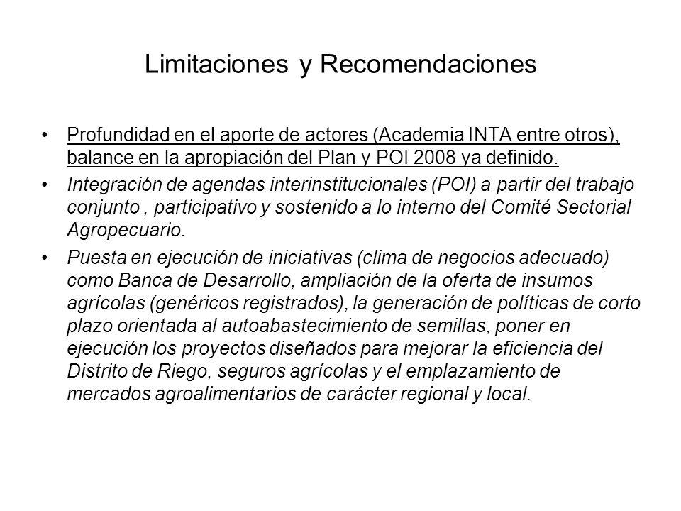 Limitaciones y Recomendaciones Profundidad en el aporte de actores (Academia INTA entre otros), balance en la apropiación del Plan y POI 2008 ya defin