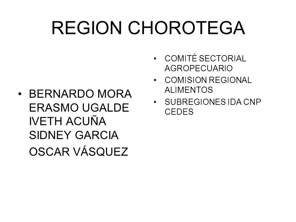 REGION CHOROTEGA BERNARDO MORA ERASMO UGALDE IVETH ACUÑA SIDNEY GARCIA OSCAR VÁSQUEZ COMITÉ SECTORIAL AGROPECUARIO COMISION REGIONAL ALIMENTOS SUBREGI