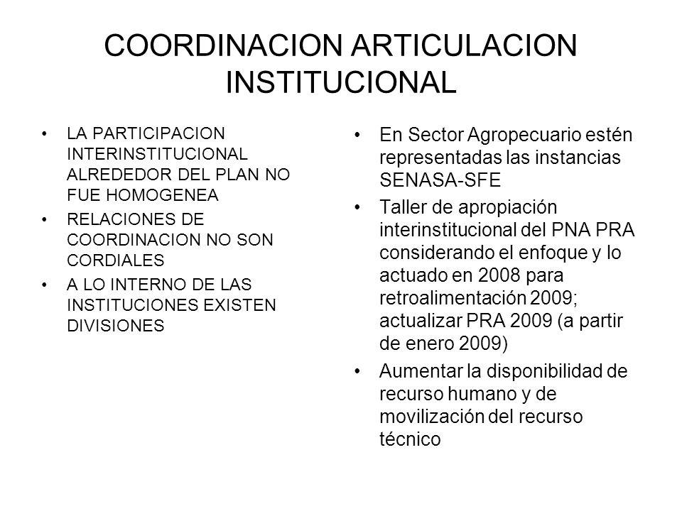 COORDINACION ARTICULACION INSTITUCIONAL LA PARTICIPACION INTERINSTITUCIONAL ALREDEDOR DEL PLAN NO FUE HOMOGENEA RELACIONES DE COORDINACION NO SON CORD