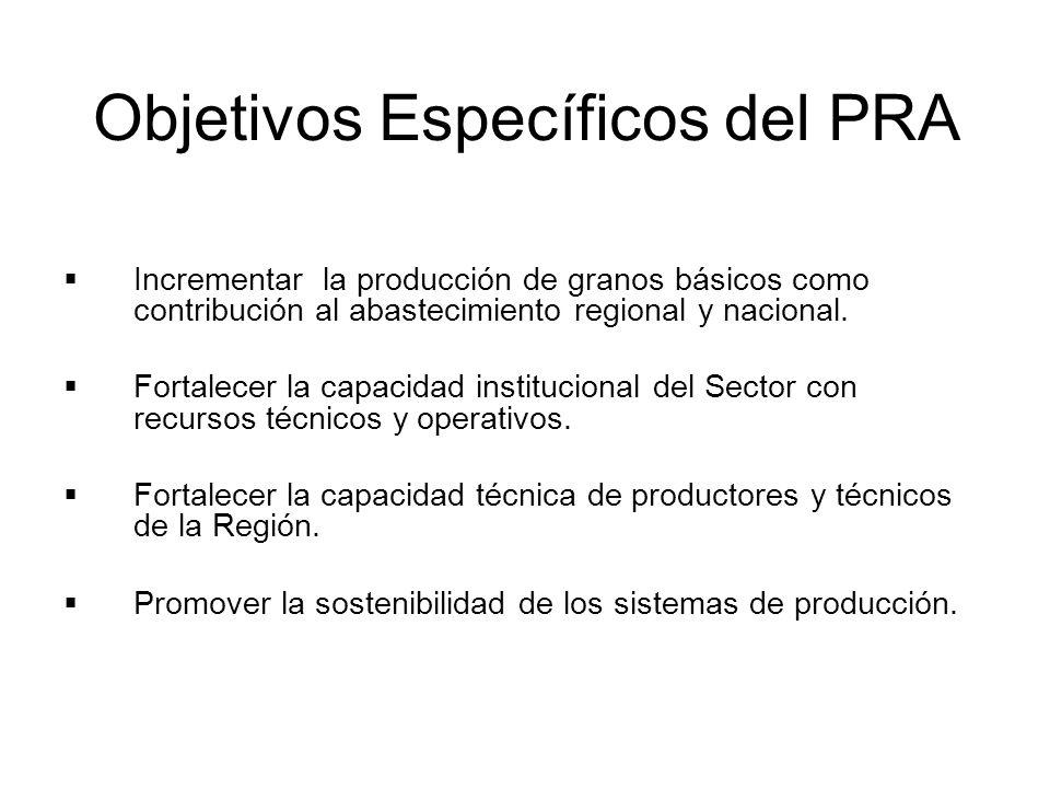 Objetivos Específicos del PRA Incrementar la producción de granos básicos como contribución al abastecimiento regional y nacional. Fortalecer la capac