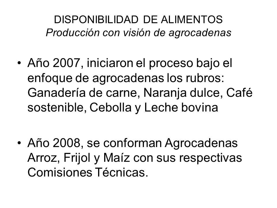 DISPONIBILIDAD DE ALIMENTOS Producción con visión de agrocadenas Año 2007, iniciaron el proceso bajo el enfoque de agrocadenas los rubros: Ganadería d