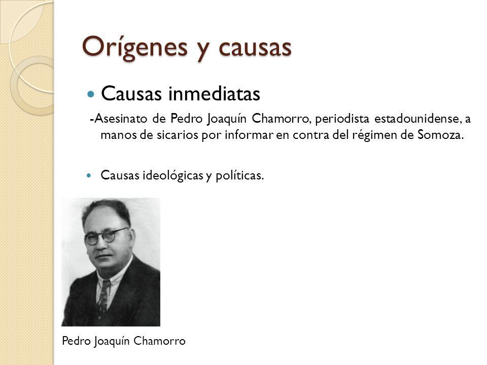 Orígenes y causas Causas inmediatas -Asesinato de Pedro Joaquín Chamorro, periodista estadounidense, a manos de sicarios por informar en contra del ré