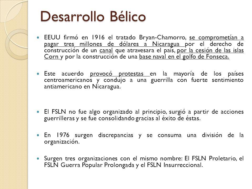 Desarrollo Bélico EEUU firmó en 1916 el tratado Bryan-Chamorro, se comprometían a pagar tres millones de dólares a Nicaragua por el derecho de constru