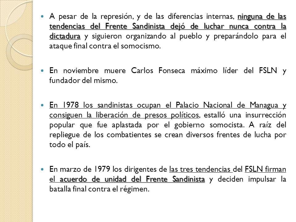 ninguna de las tendencias del Frente Sandinista dejó de luchar nunca contra la dictadura A pesar de la represión, y de las diferencias internas, ningu