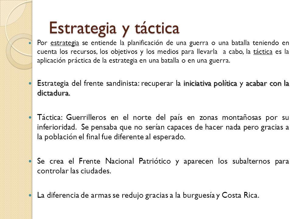 Estrategia y táctica Por estrategia se entiende la planificación de una guerra o una batalla teniendo en cuenta los recursos, los objetivos y los medi