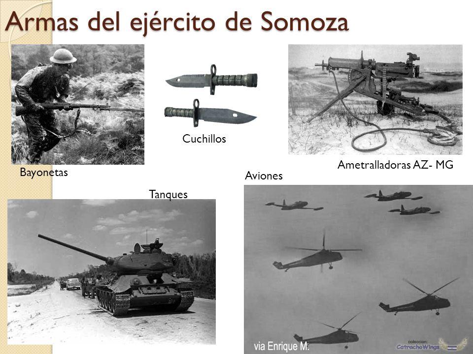 Armas del ejército de Somoza Bayonetas Cuchillos Ametralladoras AZ- MG Tanques Aviones