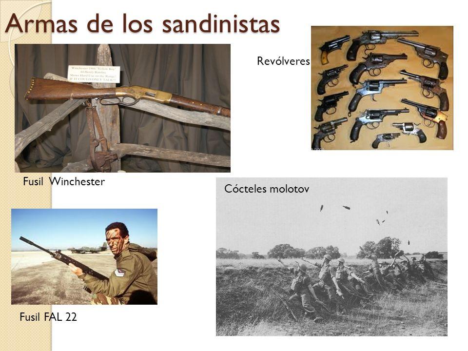 Armas de los sandinistas Fusil Winchester Cócteles molotov Fusil FAL 22 Revólveres