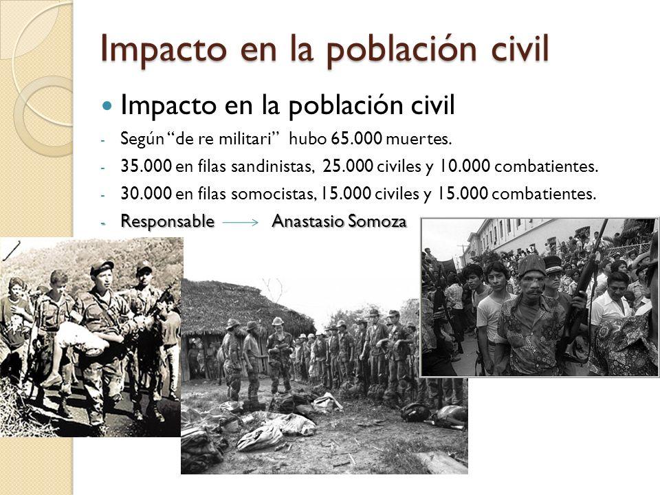 Impacto en la población civil - Según de re militari hubo 65.000 muertes. - 35.000 en filas sandinistas, 25.000 civiles y 10.000 combatientes. - 30.00