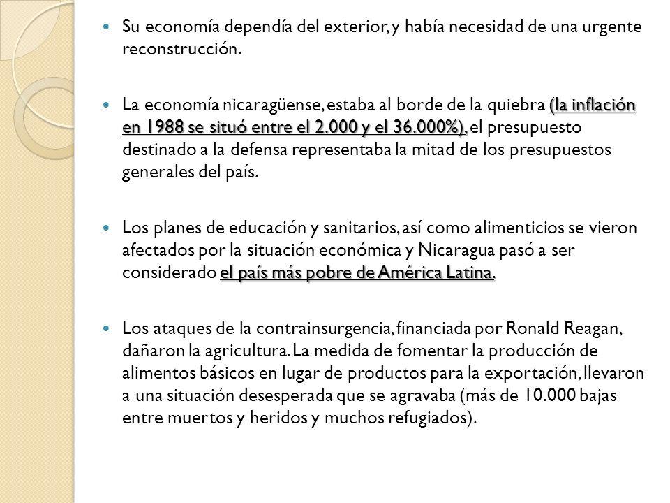 Su economía dependía del exterior, y había necesidad de una urgente reconstrucción. (la inflación en 1988 se situó entre el 2.000 y el 36.000%), La ec