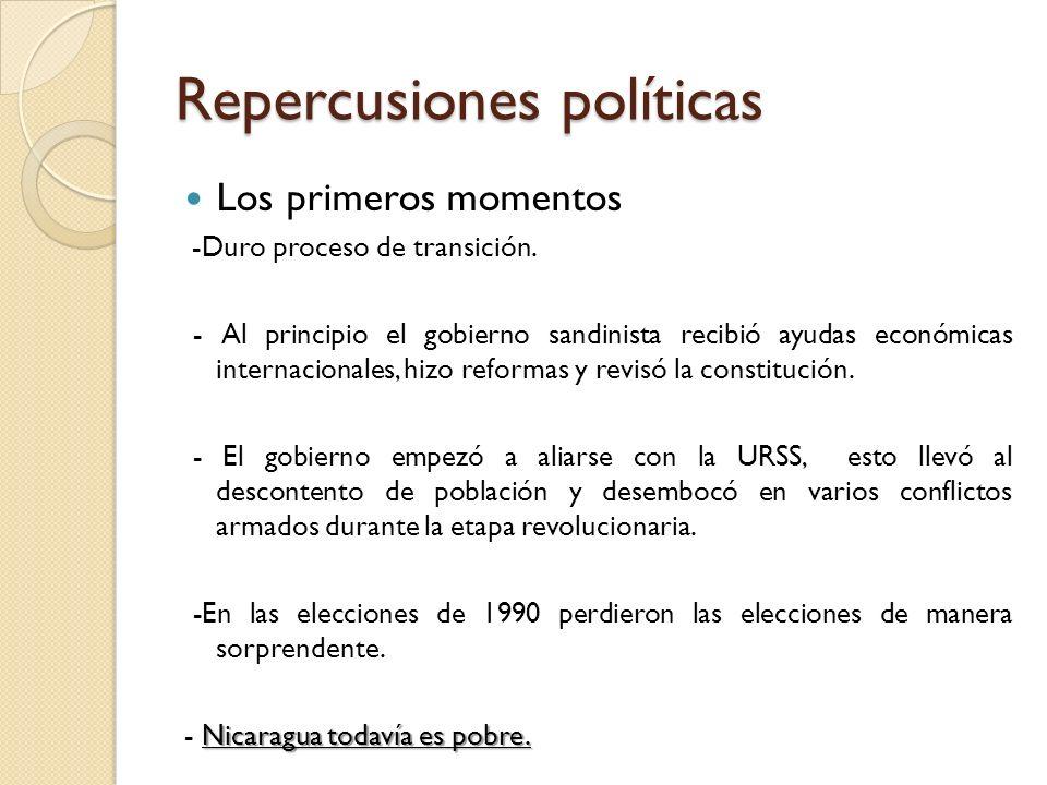 Repercusiones políticas Los primeros momentos -Duro proceso de transición. - Al principio el gobierno sandinista recibió ayudas económicas internacion
