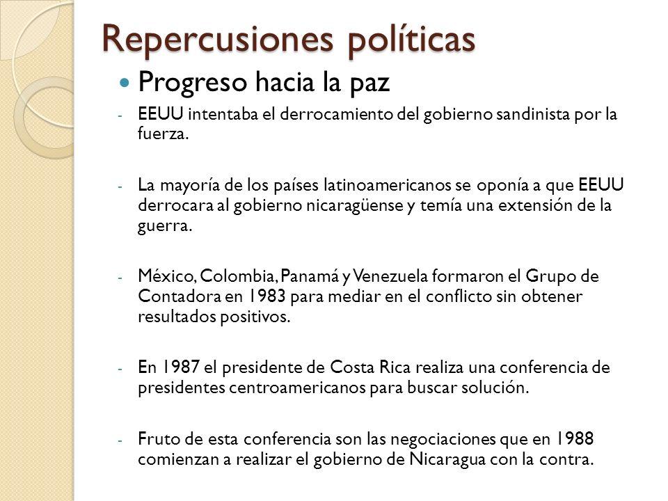 Repercusiones políticas Progreso hacia la paz - EEUU intentaba el derrocamiento del gobierno sandinista por la fuerza. - La mayoría de los países lati