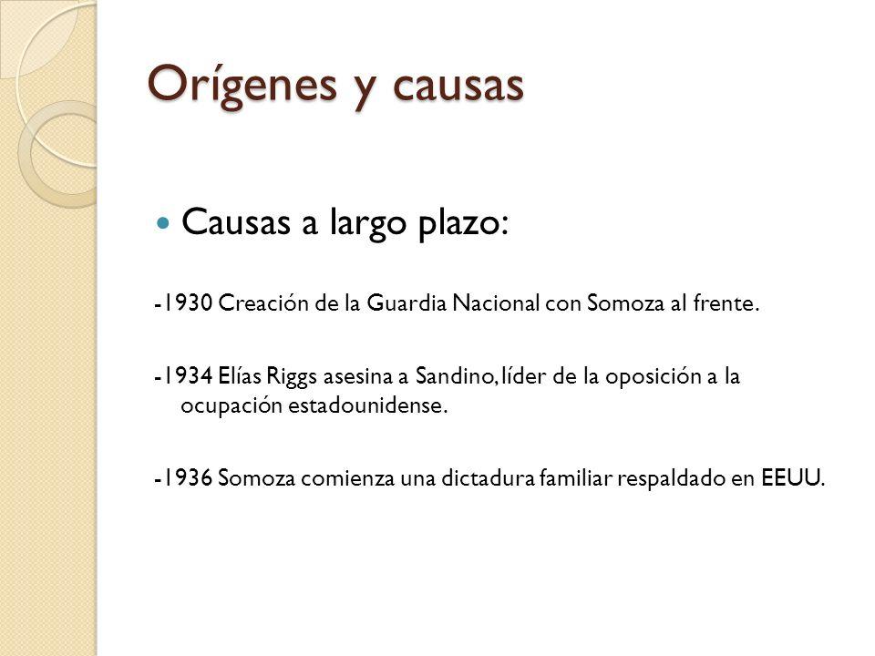 Orígenes y causas Causas a largo plazo: -1930 Creación de la Guardia Nacional con Somoza al frente. -1934 Elías Riggs asesina a Sandino, líder de la o