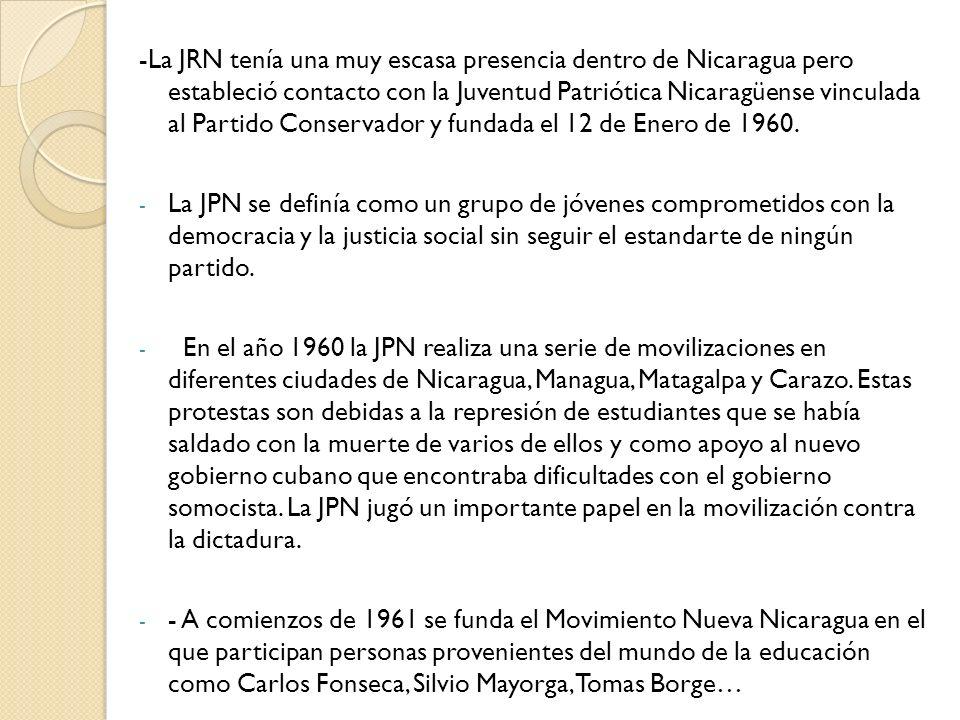 -La JRN tenía una muy escasa presencia dentro de Nicaragua pero estableció contacto con la Juventud Patriótica Nicaragüense vinculada al Partido Conse
