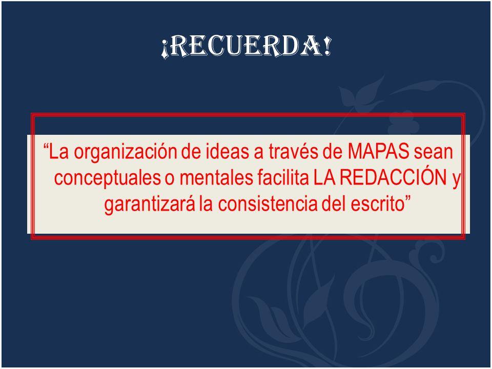 ¡RECUERDA! La organización de ideas a través de MAPAS sean conceptuales o mentales facilita LA REDACCIÓN y garantizará la consistencia del escrito
