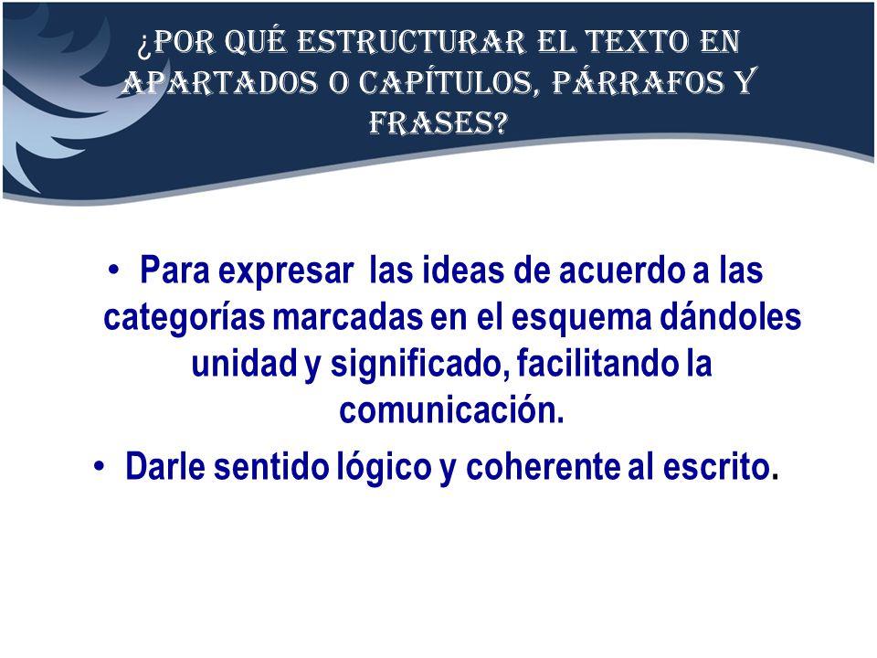 ¿ Por qué estructurar el texto en apartados o capítulos, párrafos y frases? Para expresar las ideas de acuerdo a las categorías marcadas en el esquema